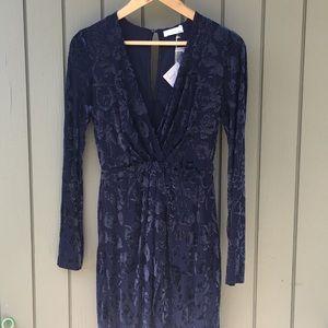 Lush Dresses - NWT/Size M/floral velvet indigo blue tulip dress